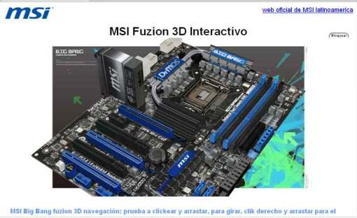 msi big bang fuzion 3d interactivo realida virtual